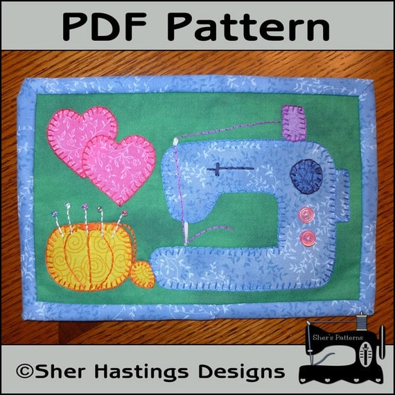 PDF Pattern For Sewing Machine Mug Rug Sewing Machine Mini