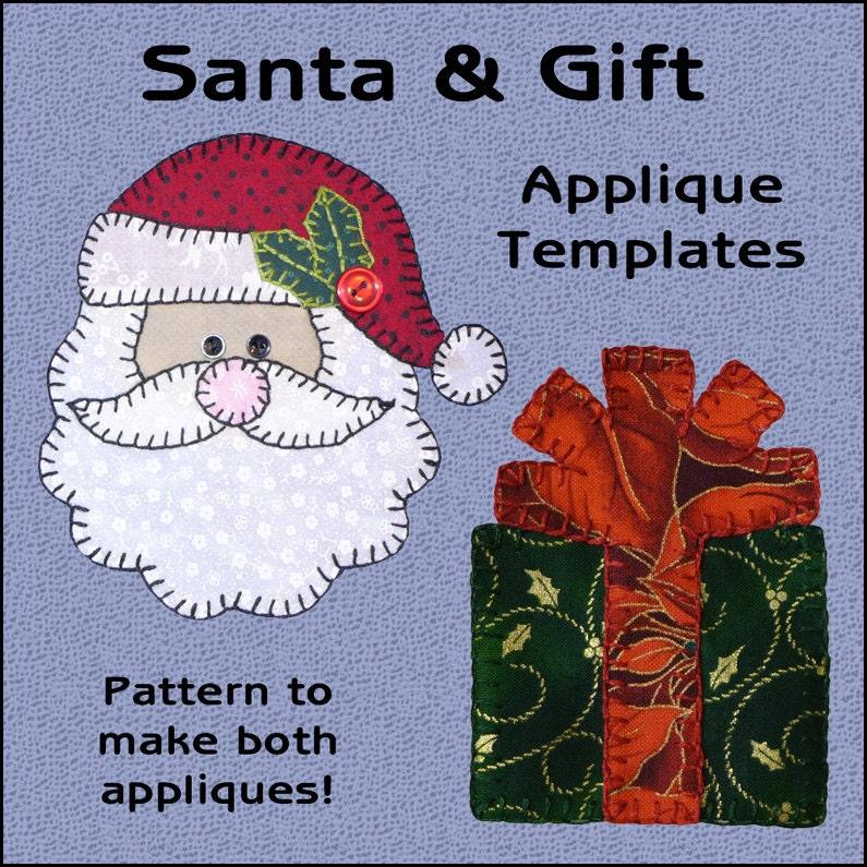 Santa Applique Templates Gift Applique Template Christmas