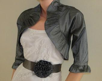 Gray Evening Bolero Jacket,Bridal Bolero,Wedding Bolero,Promdress Bolero