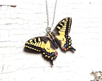 Yellow Swallowtail Butterfly, Yellow butterfly necklace, butterfly necklace, butterfly jewelry, summer jewelry, Christmas