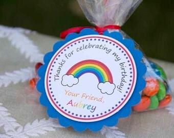 Rainbow Theme Birthday Party Favor Tags