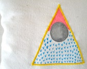 Eco friendly pillow with original hand painted triangle design. OOAK cushion in blue and pink for kids and home decor