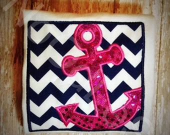 Navy Blue and Hot Pink Anchor girls shirt , Girls Anchor shirt , girls summer beach shirt , girls cruise shirt