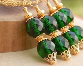 Emerald Green Necklace, Beaded Bridesmaid Necklace, green pendant, emerald green wedding, kelly green