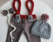 Newborn Set, Newborn Pants with Suspender, Newborn Hat, Bow Necktie, Woolen Fabric Pants, Tweed, Newborn Pants Prop, Newborn Boy Prop, Gray
