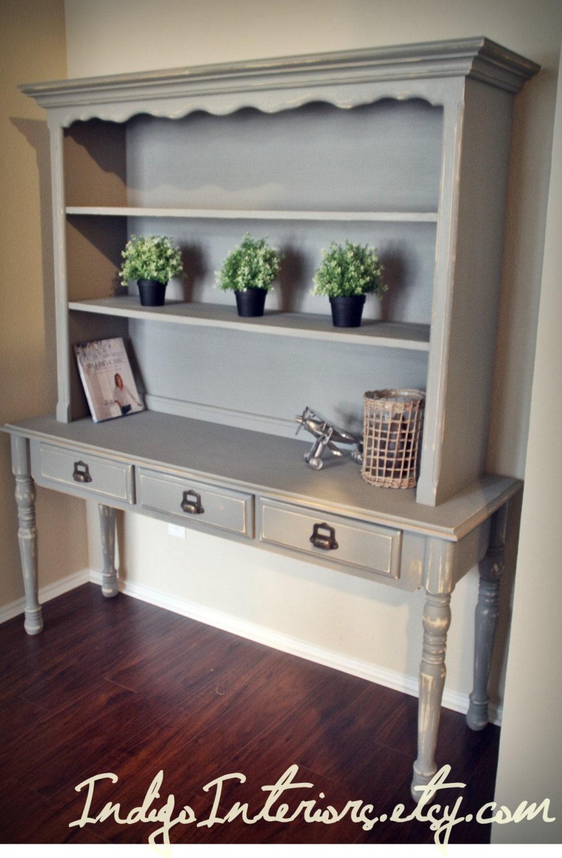 Shabby Chic Gray Bookcase Sofa Table Bookshelf