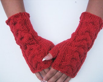 Fingerless Gloves women mittens women gloves red gloves red mittens gift  Crocheted Arm Warmers,red,winter accessories , winter fingerless