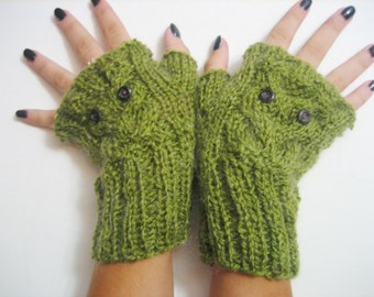 Owl Knitted Fingerless Gloves, Mitts,Green Mittens, Wristwarmers, Arm Warmers,winter accessory