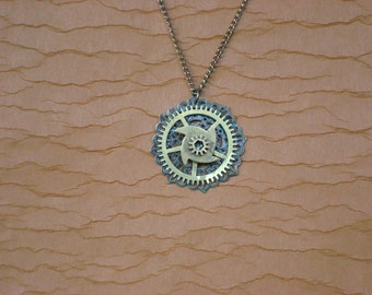 Feminine Filagree Pendant Necklace with Real Clock Gears