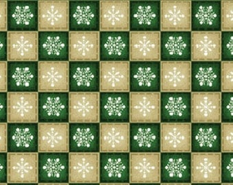 SALE!! One Yard Winter Wishes - Snowflake Check in Green Cotton Quilt Fabric - Michele D'Amore - Benartex Fabrics (W366)