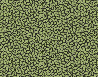 SUPER CLEARANCE!  One Yard My True Love Gave to Me - Tender Holly in Black and Green Cotton Quilt Fabric - Benartex Fabrics (W392)