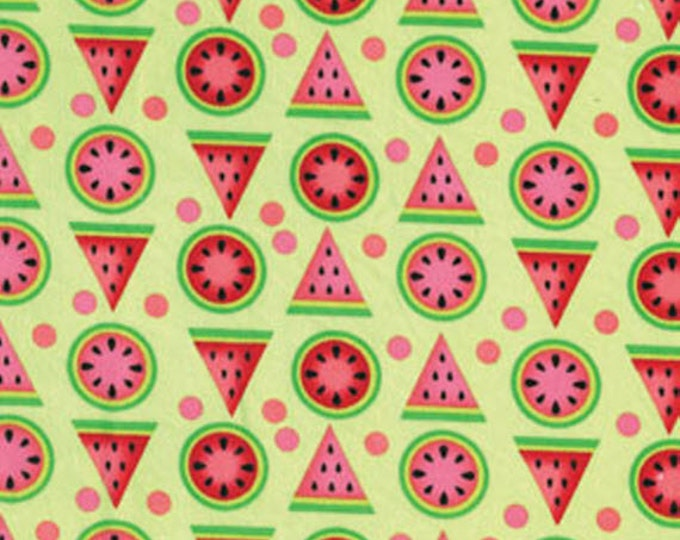 SUPER CLEARANCE! Half Yard Mad for Melon - Melon Geo in Lime - Cotton Quilt Fabric - by Kanvas - Benartex (W243)