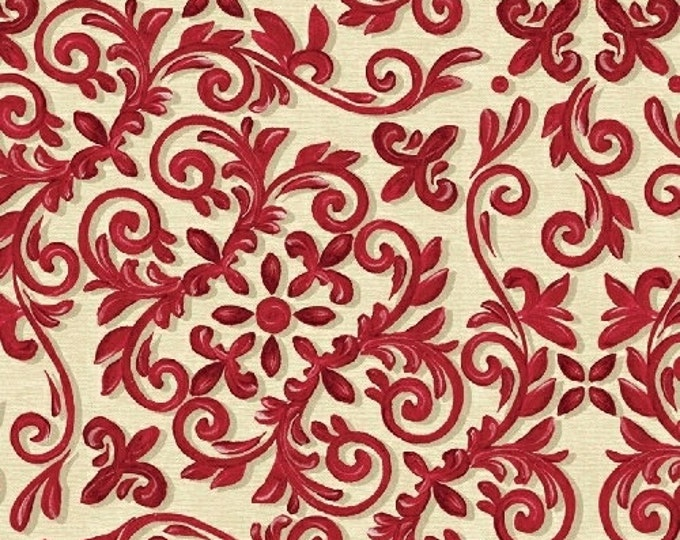 SALE!! Fat Quarter 12 Days of Christmas - Christmas Scrolls in Red Cotton Quilt Fabric - by Kate McRostie - Windham Fabrics (W325)