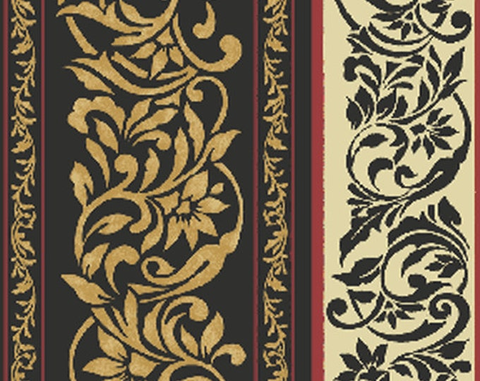 SUPER CLEARANCE! One Yard My True Love Gave to Me - Damask Stripe in Black and Gold Cotton Quilt Fabric - Benartex Fabrics (W385)