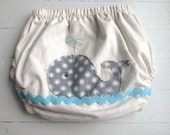 Baby boy diaper cover, whale diaper cover, natural cotton , whale appliqué