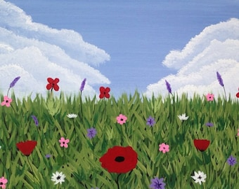 flower fields,spring flowers,16x20x.75,flower painting,cloud painting,red,pink,purple,acrylic painting,canvaa art
