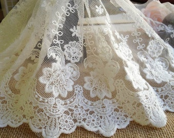 Cotton Lace Trim, White Embroidered Lace Fabric, Vintage Rose design Trim, Mesh Lace Trim