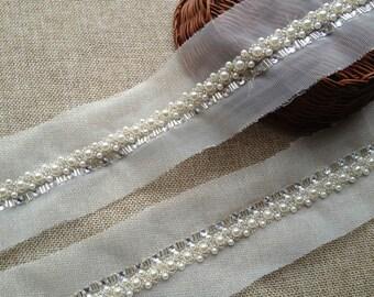 1 Yard Pearl Trim, Ivory Wedding Beaded Trim For Bridal, Dress, Sash, Headbands, Crafts