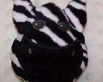 Hand-crafted Zebra Woobie - Minky Security Blanket