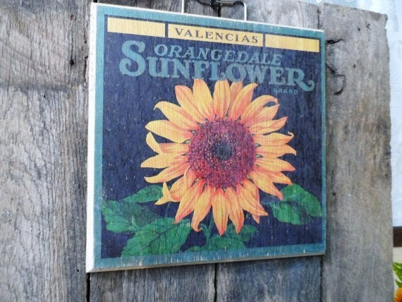 Vintage Sunflower Wall Decor : Distressed sunflower brand wood wall plaque picture cute