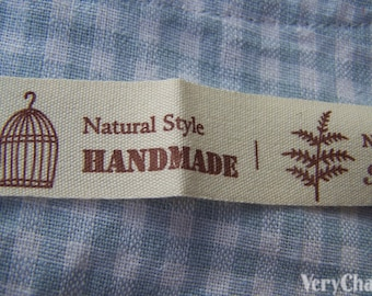 5.46 Yards (5 meters) Bird Cage Print Cotton Ribbon Label String A2663