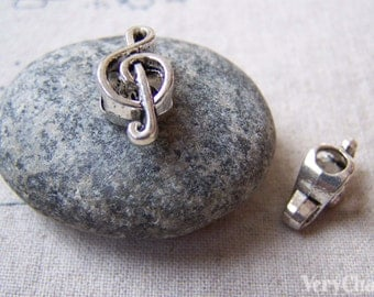 10 pcs of Antique Silver Treble Clef Music Note Beads 6x18mm A5622