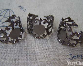 10 pcs Gunmetal Black Brass Adjustable Filigree Flower Ring Bases with 8mm Pad A1823