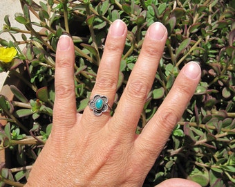 Turquoise and Sterling Ring Size 4