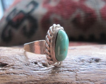 GreenTurquoise and Sterling Ring Size 4.5