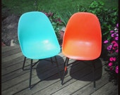 SALE Eames style shell chair, mid century modern, bright blue