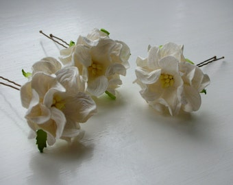 Bridal Hair Pins - Ivory Gardenias - Mulberry Paper Flowers (Set of 3)