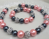 Pink, Gray and Silver Girl's/Preteen Necklace and Bracelet Set