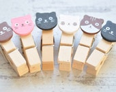 6 Pieces Mini Wooden Pegs, Cat Face Clothes Pegs, Home Decor Findings, Paperclips