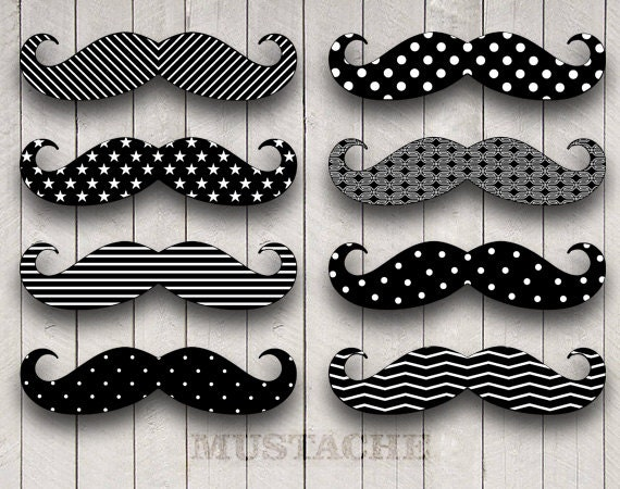 Mustache Party Digital Clip Art For Photobooth Props
