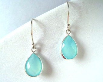 Aqua Chalcedony Drop Sterling Earring, Dangle, Teardrop, Aqua Mint Chalcedony Earring,
