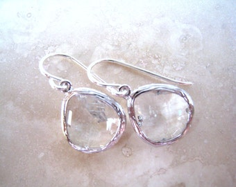 Crystal Silver Earrings, Bridesmaid, Wedding Jewelry, Sterling Silver Wires, Crystal Clear Drop Earrings
