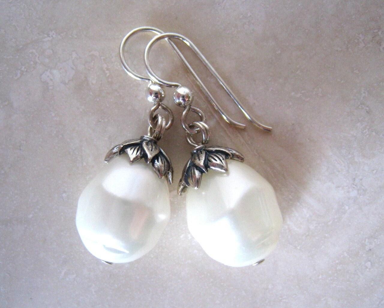 lotus flower pearl earrings baroque shell pearl earrings