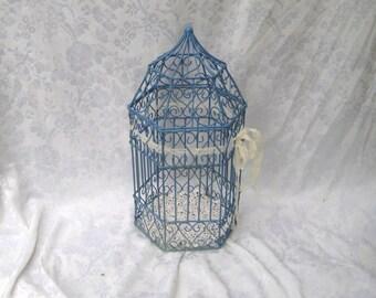 Marine blue birdcage, wedding birdcage, shabby birdcage, shabby cottage chic decor