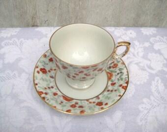 Peach floral teacup, small teacup, country cottage teacup