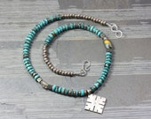 turquoise trade beads silver coptic cross eclectic necklace