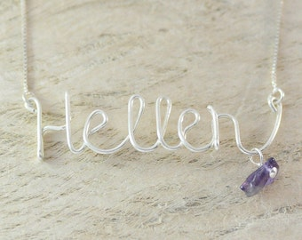Custom silver wire name necklace-purple natural stone sister gift