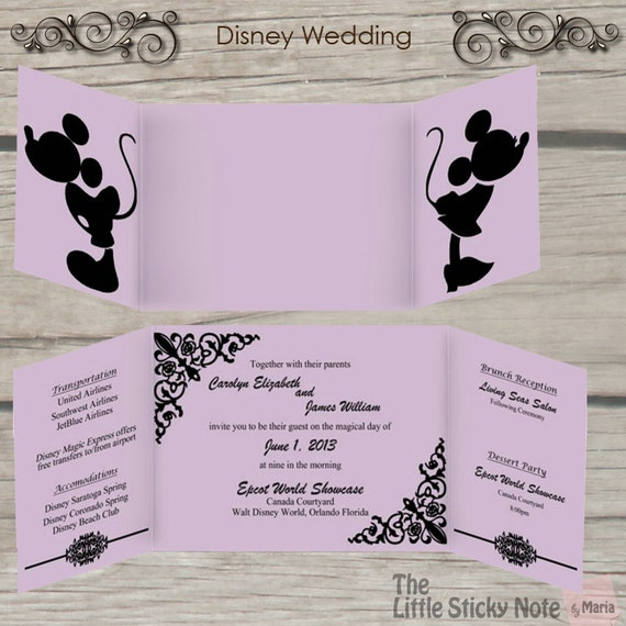 Disney Wedding Invitation By TheLittleStickyNote On Etsy