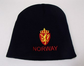 Scandinavian Sweden Norway Finland or Denmark Crest on Navy Blue Knit Hat