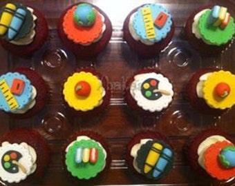 12 Fondant edible cupcake/cookie toppers - Teachers Appreciation / Back to school