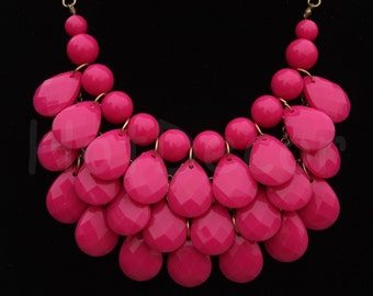 Statement necklace Bubble necklace Bib Necklace statement jewelry gift for women Gold or Silver chain Teardrop necklace Hot pink Necklace