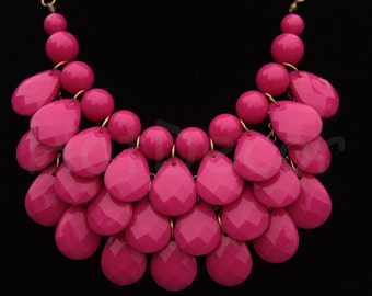 Statement necklace Bubble necklace Bib Necklace for women Teardrop necklace Hot pink Necklace Holiday necklace Silver chain or gold chain