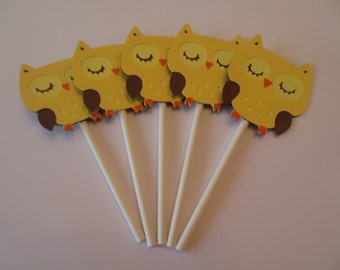 12 Yellow Owl Cupcake Toppers