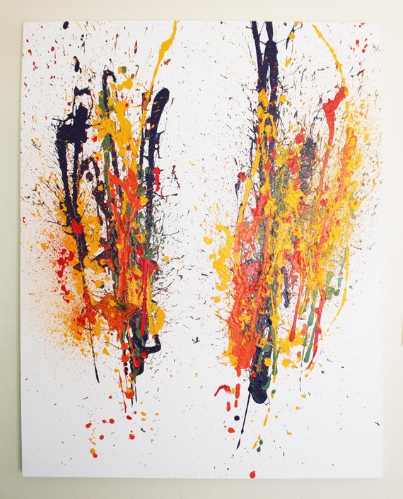 2752 - original abstract art painting with red orange yellow blue and green colors