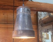 Large Handcrafted Up-cycled Ductwork Pendant Light in Aged Zinc Finish