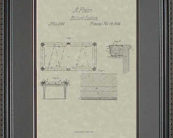 Pool Table Patent Artwork Player Billiards Gift P4290